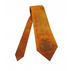 Damenkrawatte Batik orange braun